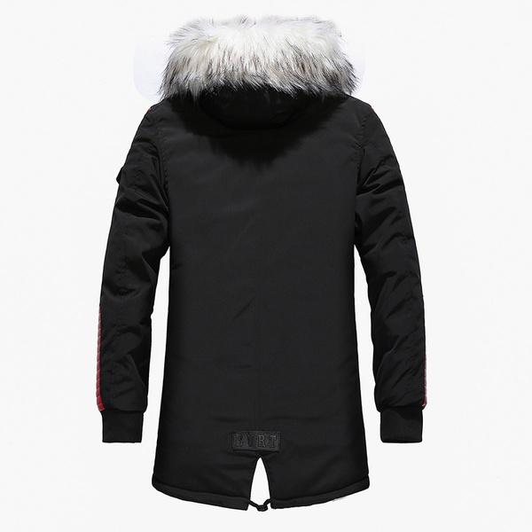 2018 Autumn Men's Large Fur Collar Cotton Thick Long Coat