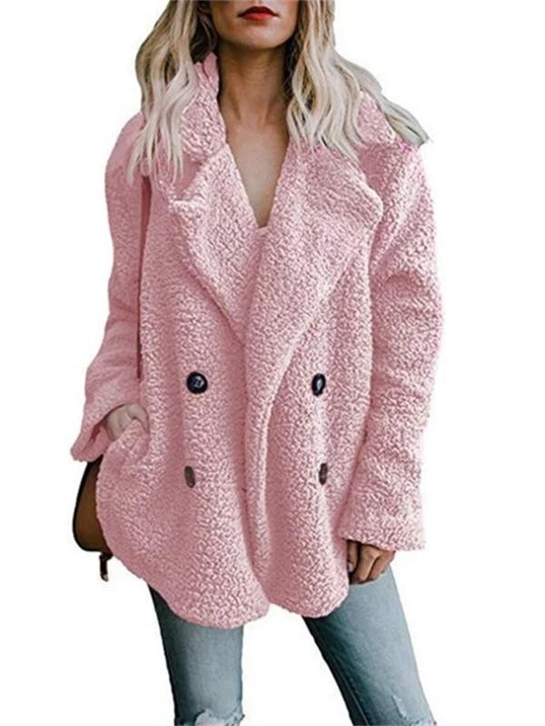 Doriry Shawl Collar Long Sleeve Buttoned Solid Winter Teddy Bear Coat
