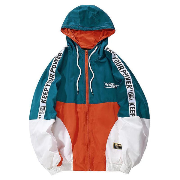 Hip Hop Mens Hooded Windbreaker Jacket