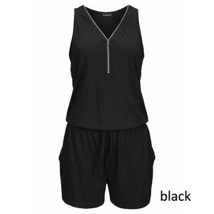 Beach Casual V-neck Fashion Sleeveless Zipper Slim Woman's Jumpsuit Rompers