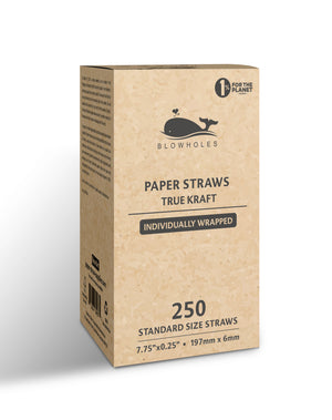 "True Kraft Standard Straws, Wrapped - 7.75"" (Box of 250)"