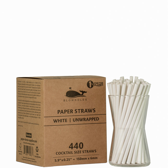 "White Cocktail Straws - Unwrapped  - 5.90"" (Box of 440)"