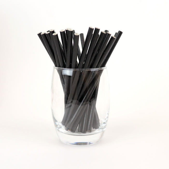 "Black Cocktail Straws, Unwrapped - 5.9"" (Case of 15,840)"
