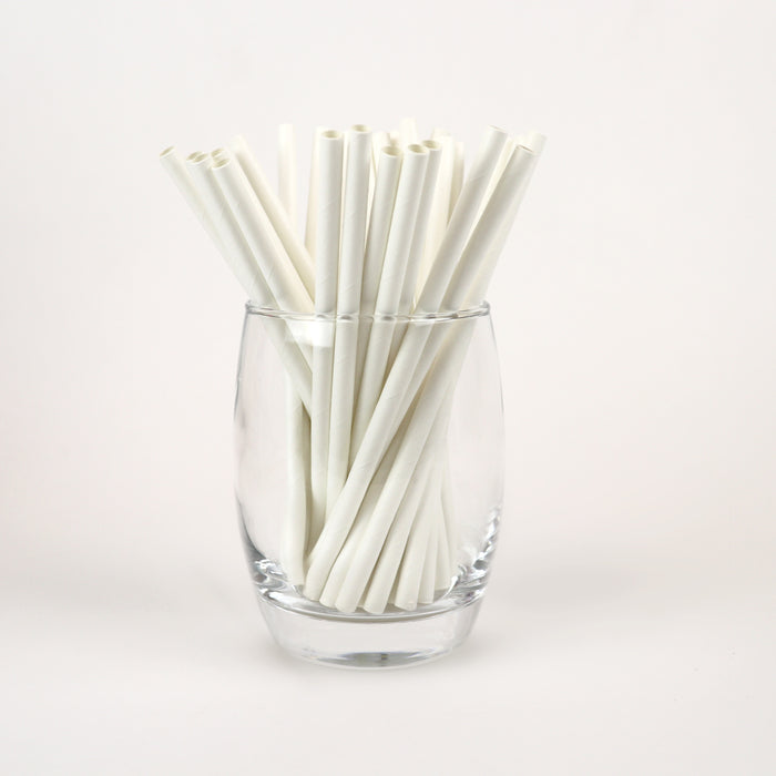 "White Cocktail Straws, Unwrapped - 5.9"" (Case of 15,840)"