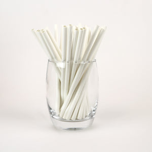 "5.90"" Unwrapped White Cocktail Straws - Box of 440"