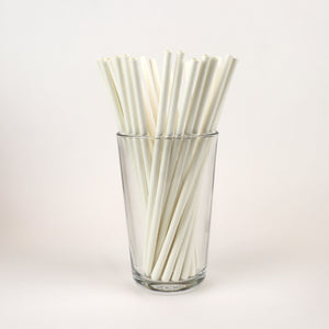 "7.75"" Unwrapped Paper White Standard Straws - Case of 15,840"