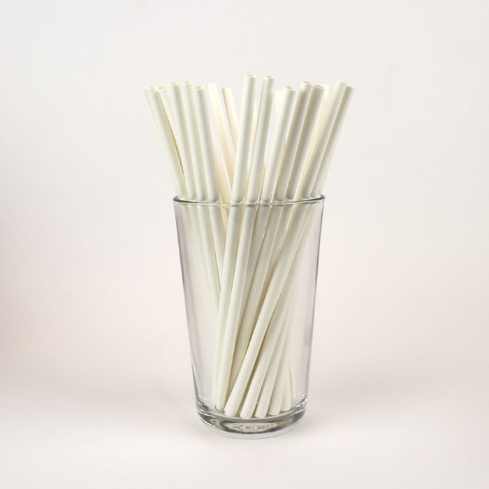"White Standard Straws, Unwrapped - 7.75"" (Case of 15,840)"
