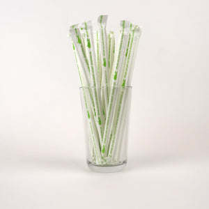 Standard White Paper Straws in a Glass