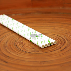 Standard Blowholes White Paper Straws on a Table