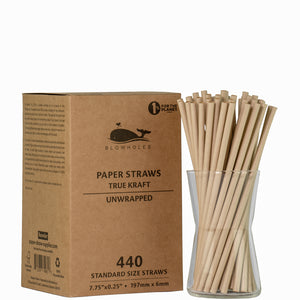 "True Kraft Standard Straws, Unwrapped - 7.75"" (Box of 440)"