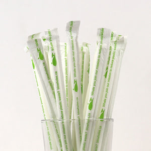 "250 7.75"" Wrapped White Standard Paper Straws"