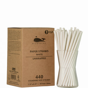 "White Standard Straws, Unwrapped - 7.75"" (Box of 440)"
