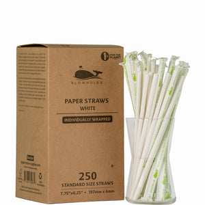 "White Standard Straws, Wrapped - 7.75"" (Box of 250)"