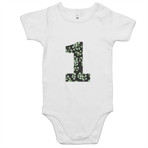 Our cute '1' eucalyptus onesie is a perfect unisex first birthday outfit. Our eucalyptus collection is a softer look with a subtle nod towards Australian flora the design is ethically sourced and printed in Australia. It is great for a cake smash or first birthday party.