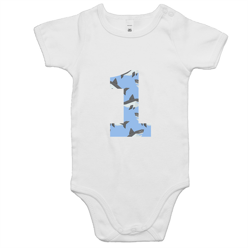 Our cute '1' shark onesie is perfect for your little boys first birthday outfit. Our moustache design is ethically sourced and printed in Australia. It is great for a cake smash or first birthday party.