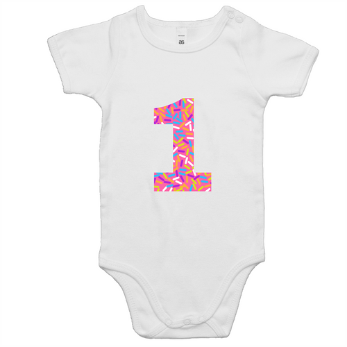 Our cute '1' donut onesie is a perfect girls first birthday outfit. Our donut collection is vibrant and looks good enough to eat! The design is ethically sourced and printed in Australia. It is great for a cake smash and perfect for a Donut or 'Two Sweet' themed party.