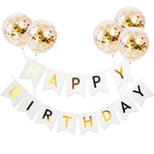 Load image into Gallery viewer, Happy birthday banner and confetti balloons