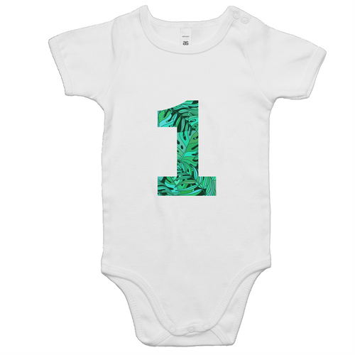 Our cute '1' onesies are a perfect unisex first birthday outfit. Our on trend tropical design is ethically sourced and printed in Australia. It is great for a cake smash or first birthday party. This tropical design is perfect for a wild one or jungle themed first birthday party.