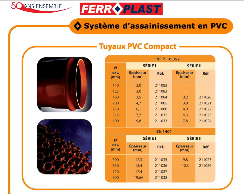 Tube PVC Assainissement Ferroplast - SOCRALINE SHOP