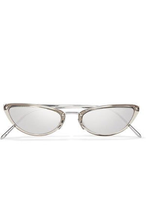 CAT EYE ACETATE MIRRORED SUNGLASSES | SILVER