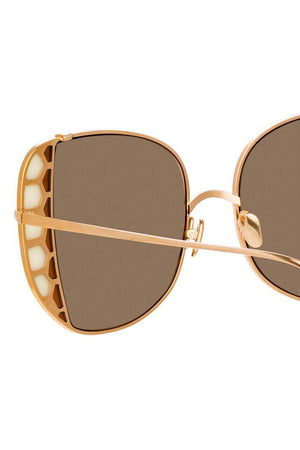 Linda Farrow AMELIA OVERSIZED SUNGLASSES | Rose Gold