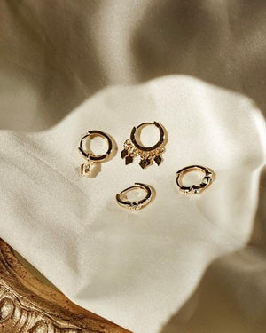EVIL EYE HOOP HUGGIES | GOLD