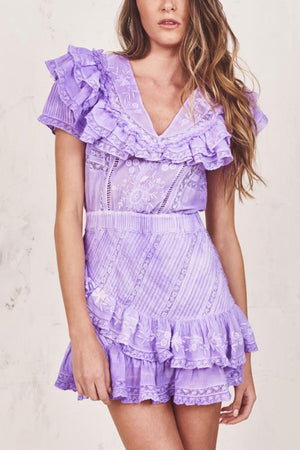 Love Shack Fancy Bonita Dress in Lavender