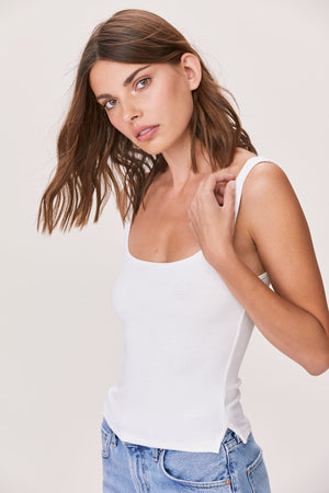 LNA essential ribbed scoop tee in white