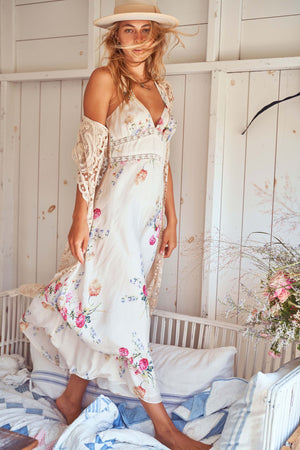 Love Shack Fancy Sabina Dress in Natural Cream
