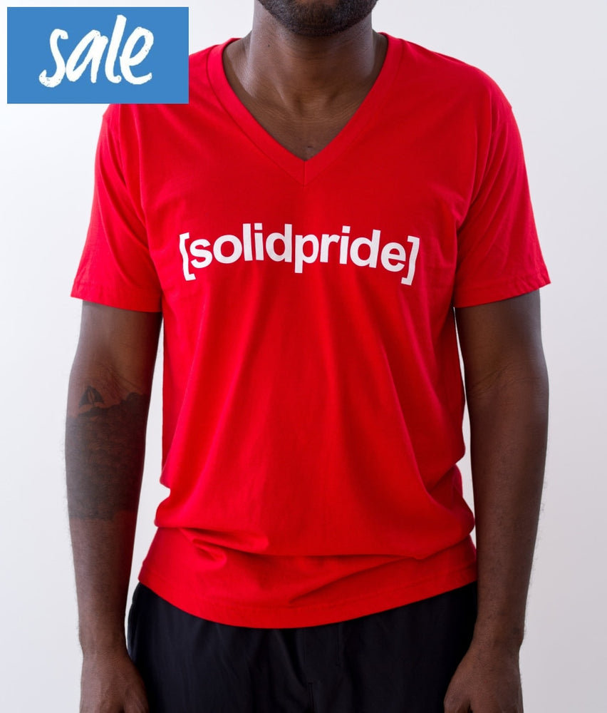 Men's Red [solidpride] Vneck