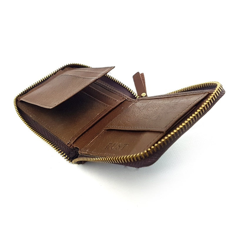 Cruise - Tan Calf Leather 3Fold Zippered Wallet - The Leather Trading Co.