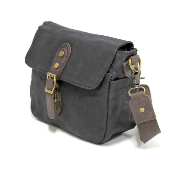 Whistler 11″ Black Waxed Canvas & Leather Shoulder Bag - The Leather Trading Co.
