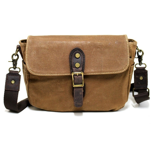 Whistler 11″ Khaki Waxed Canvas & Leather Shoulder Bag - The Leather Trading Co.
