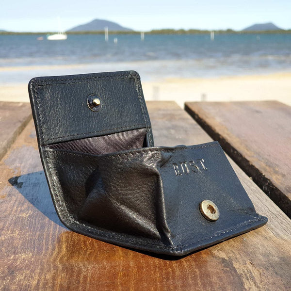 Charlie Compact Cow Hide Black Coin Pouch