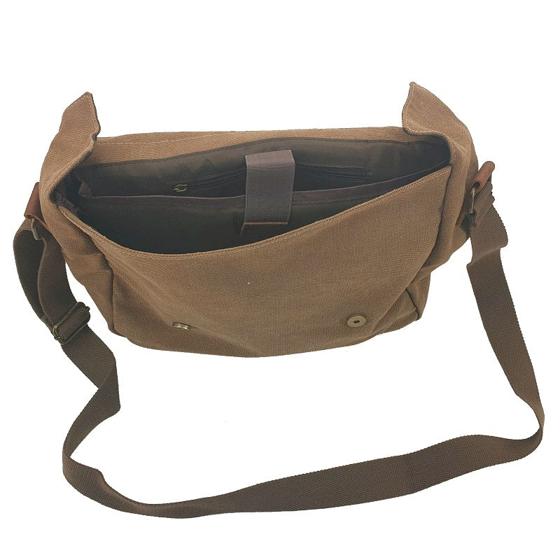 "Medic 14"" Coffee Vintage Fashion Canvas & Leather Medical Messenger Shoulder Bag - The Leather Trading Co."