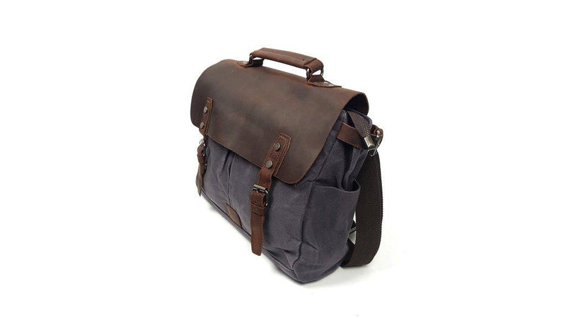 "Instigator - 14"" Canvas Satchel with Leather Cover (16960) Out of Stock - The Leather Trading Co."