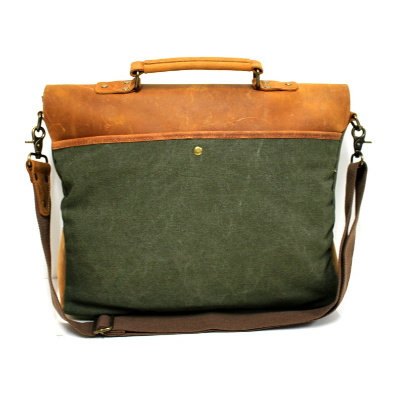 "Hercules 16"" Forrest Canvas & Leather Laptop Messenger Satchel Bag - The Leather Trading Co."