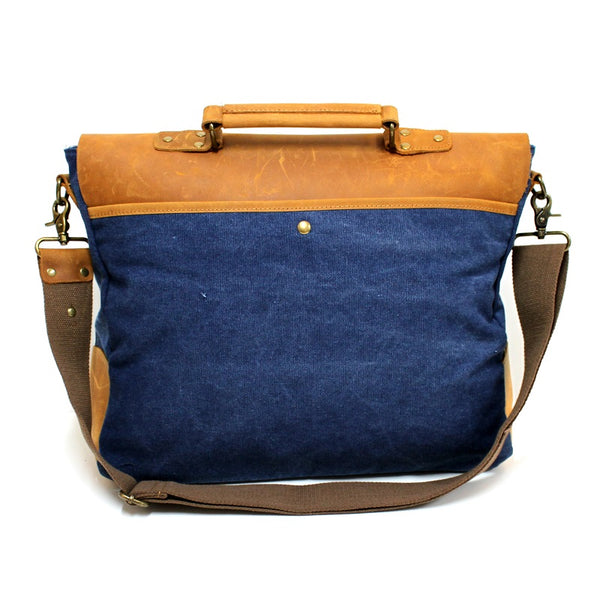 "Hercules 16"" Navy Canvas & Leather Laptop Messenger Satchel Bag - The Leather Trading Co."