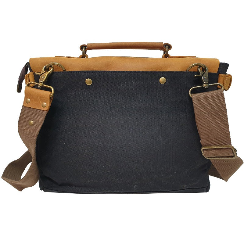 "Tarzan 14"" Waxed Black Canvas & Buffalo Leather Cover Weather Proof Laptop Bag - The Leather Trading Co."