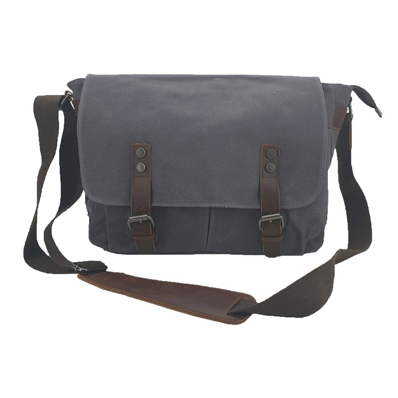 Rambo 14″ Grey Waxed Canvas & Leather Magnet Satchel - The Leather Trading Co.