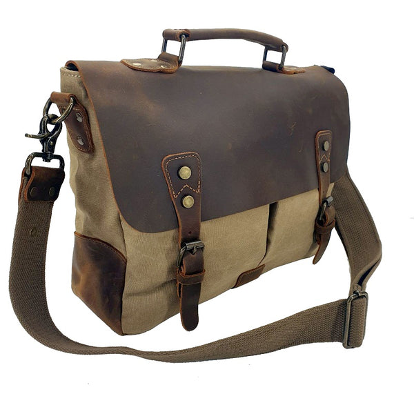 Axel 14″ Khaki Laptop Canvas & Leather Messenger Bag - The Leather Trading Co.