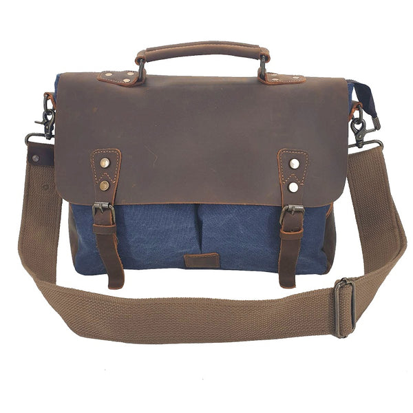 Axel 14″ Navy Laptop Canvas & Leather Messenger Bag - The Leather Trading Co.
