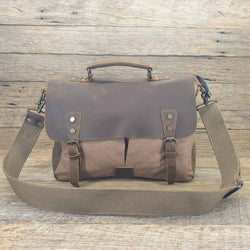 Axel 14″ Coffee Laptop Canvas & Leather Messenger Bag - The Leather Trading Co.