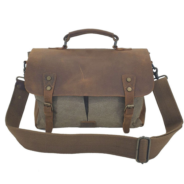 Axel 14″ Army Green Laptop Canvas & Leather Messenger Bag - The Leather Trading Co.