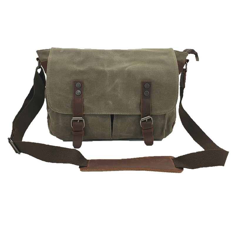 Rambo 14″ Green Waxed Canvas & Leather Magnet Satchel - The Leather Trading Co.