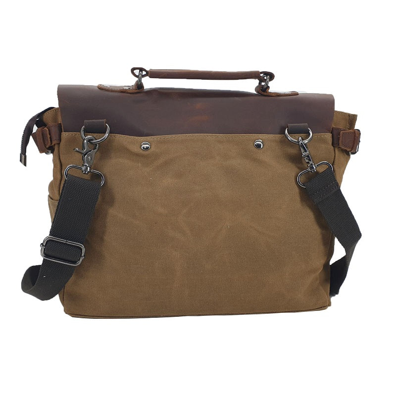 Bullet 14″ Khaki Camel Waxed Canvas Satchel with Full Grain Leather Flap - The Leather Trading Co.