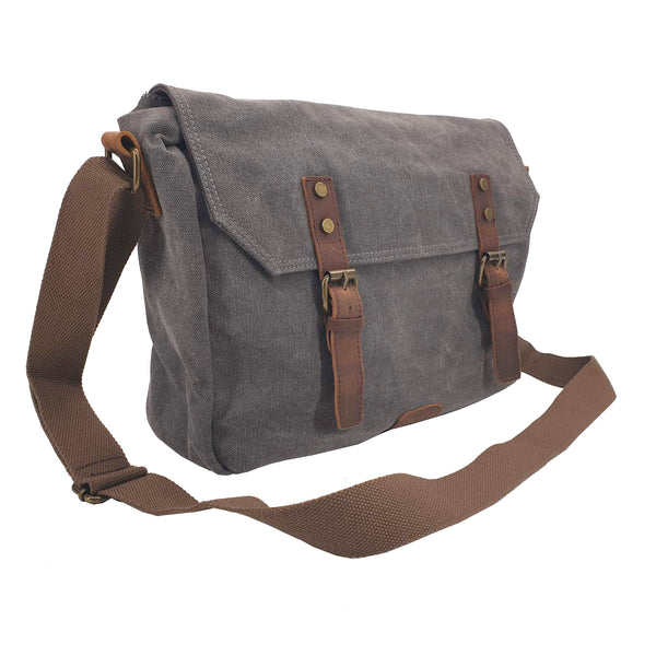 "Medic 14"" Grey Vintage Fashion Canvas & Leather Medical Messenger Shoulder Bag - The Leather Trading Co."