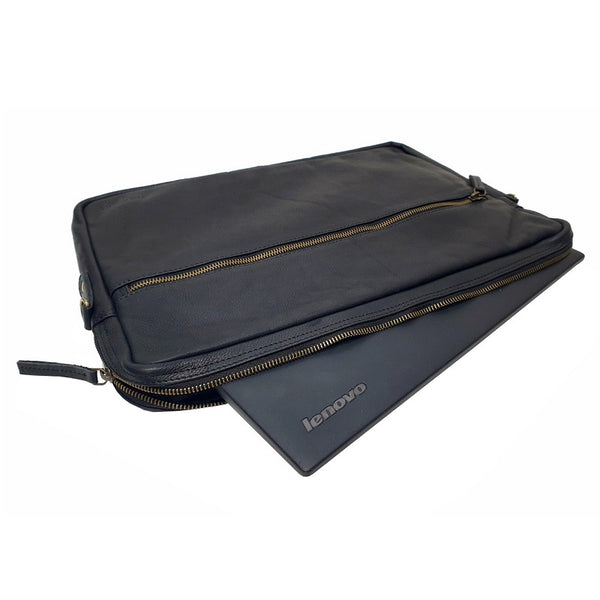 "Jones 15"" Black Cowhide Slim Leather Laptop Case - The Leather Trading Co."