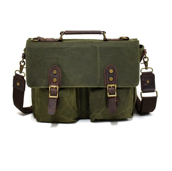 "Leon 15"" Waxed Forrest Canvas and Leather Satchel Weather Proof Laptop Bag - The Leather Trading Co."