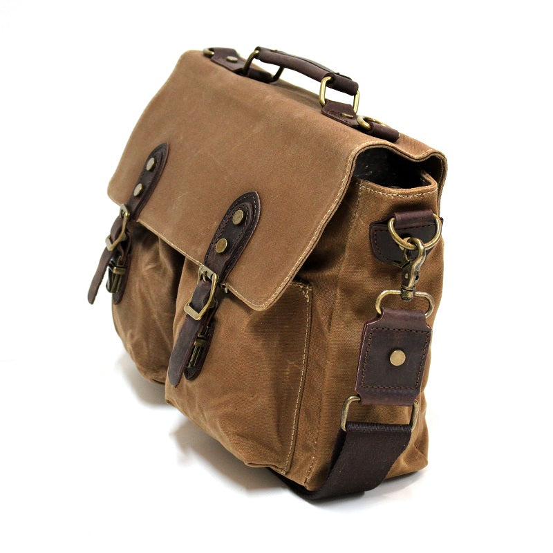 "Leon 15"" Waxed Khaki Canvas and Leather Satchel Weather Proof Laptop Bag - The Leather Trading Co."